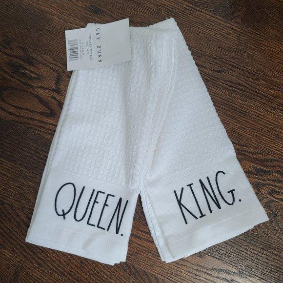 """Rae Dunn """"Queen"""" & """"King"""" Kitchen Towel Set"""
